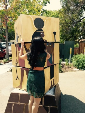 Your author toying with interactive art at a festival